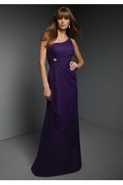 A Line Floor Length Chiffon Evening Dress Style