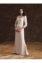 A Line Scoop Floor Length Lace/ Silky Crepe Evening Dress Style
