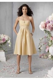 A Line Strapless Tea Length Taffeta Evening Dress Style