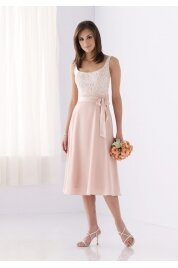 A Line Scoop Tea Length Satin Evening Dress Style